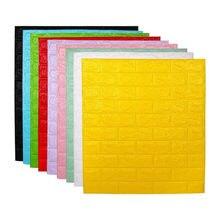 Etiquetas para paredes de ladrillo, autoadhesivas, DIY, paneles de papel de pared, pegatinas blancas, impermeables, espuma 3D, 70cm x 77cm