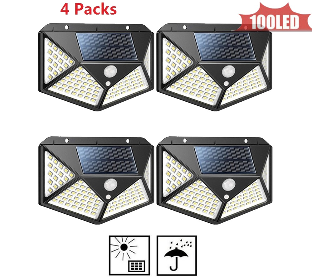 100 LEDs Solar Light PIR Motion Sensor Solar Power Night Lamp LED Garden Light Outdoor Security Solar Wall Lamp Waterproof 4 Sid