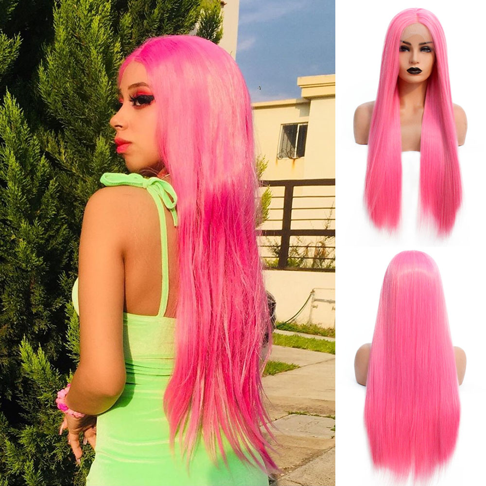 V'NICE Pink Synthetic Lace Front Wig Middle Part Natural Glueless Heat Resistant Straight Cosplay Wigs for Black Women image