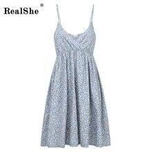 RealShe Ladies Summer Dress V-Neck Sleeveless Spaghetti Strap Cotton Casual Empire Mini Floral Boho Sexy Women 2019