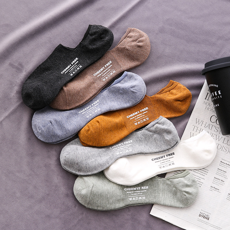 Fashion Men Socks 2020 Spring New Fashion Ankle Socks Cotton Men's Ankle Color Invisible Short Socks Slippers Men High Quality