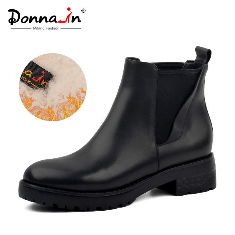 Donna-in Winter <font><b>Boots</b></font> Women Genuine Leather Natural Fur Snow <font><b>Boots</b></font> Women Waterproof Black Platform <font><b>Block</b></font> <font><b>Heel</b></font> Shoes for Ladies image