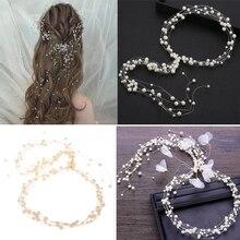 Свадебный с жемчугом головной убор для волос для женщин Свадебные волосы длинные лозы диадемы для выпускного вечера аксессуары для торжественных случаев короны для волос невесты
