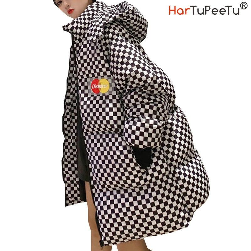 BF Style Women Winter Cotton Harajuku Plaid Parka Detachable Hooded Padded Long Loose Woman Streetwear Winter Coat Winter Jacket|Parkas| - AliExpress