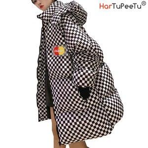 BF стиль, женская зимняя хлопковая клетчатая парка Harajuku, съемная, с капюшоном, с подкладкой, длинная, свободная, женская уличная одежда, зимне...