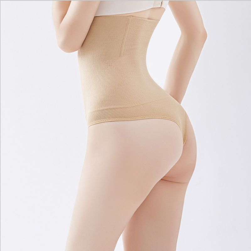 Womens Womens Ultra-High Waist Butt Lifter Shapewear Solid Color Tummy Control Slimmer Thong Triangle Bottoms Seamless Body
