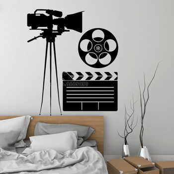 Cinema Wall Stickers Removable Vinyl Movie House Wall Decal Cinematography Decoration Cinema Interior Design Wall Poster LL2165 image