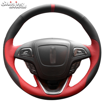 Shining wheat Hand-stitched Black Red leather Steering Wheel Cover for Lincoln mkc mkx mkz 2013-2019