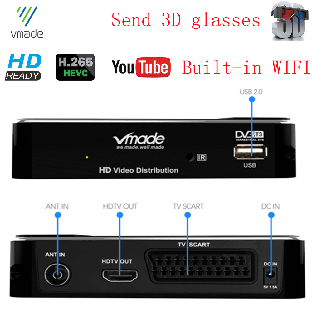 DVB-T2 HD Digital Terrestrial Receiver Built-in RJ45 LAN Support H.265/HEVC Youtube AC3 Audio DVB-T TV Tuner Hot Sale Europe