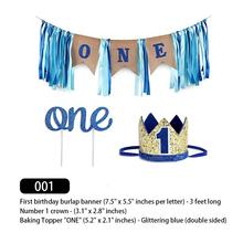 Baby 1st Birthday Boy Decorations With Crown First High Chair Banner Cake Smash Party Supplies Hap