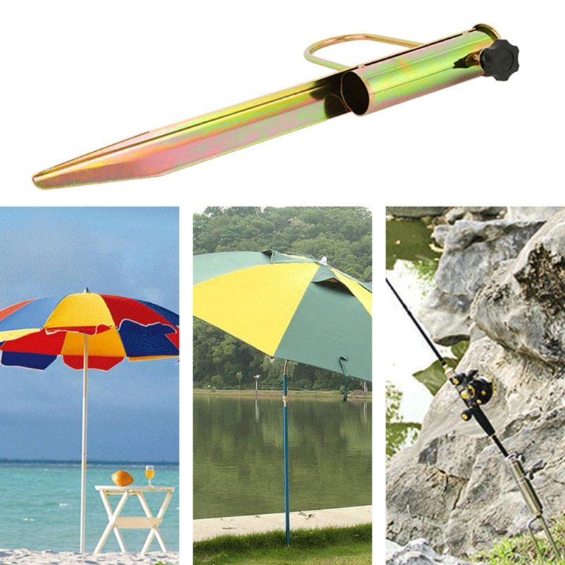 1Pc Iron Sun Beach Umbrella Stand Spike Fishing Pole Patio Parasol Ground Anchor Rain Gear Spikes Plastic Auger Holder