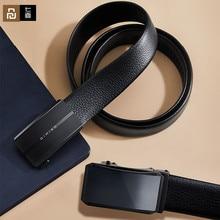 Youpin qimian cabeça camada de couro dos homens cintos fivela automática moda cintos para homens negócios popular masculino marca cintos pretos macio