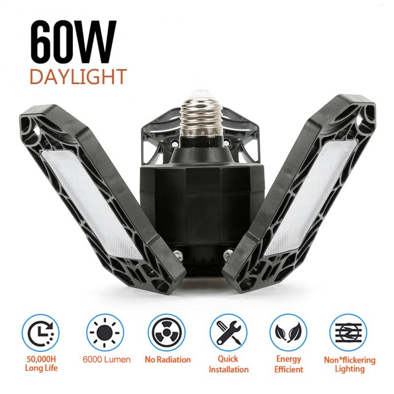 60W 40W LED Garage Light Super Glare Ceiling Light For Home Warehouse Workshop AC85-265V Folding Three-Leaf Deformation Lamp