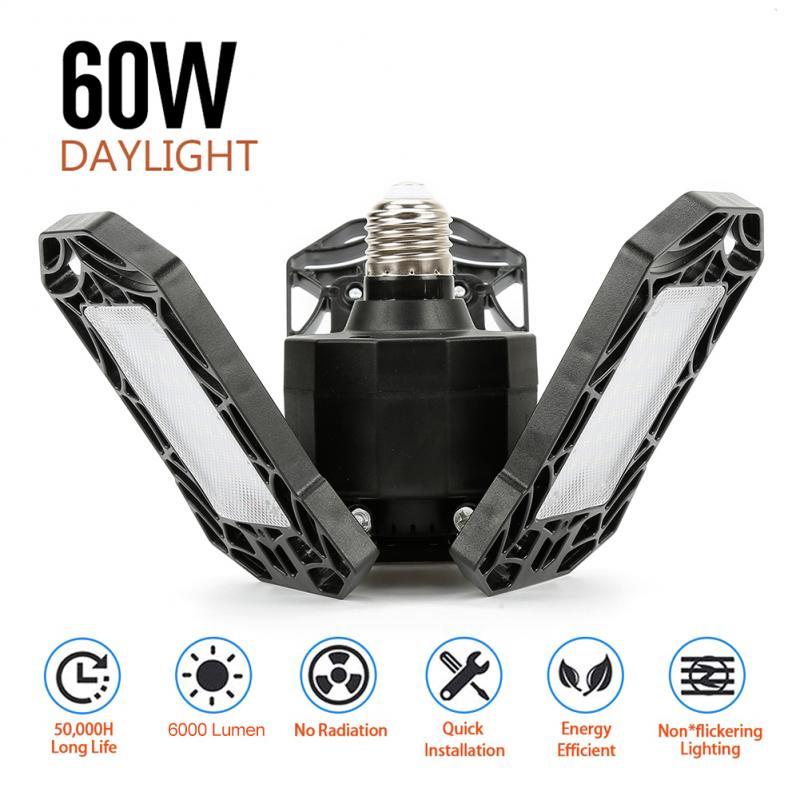60W 40W LED Garage Light Super Glare Ceiling Light For Home Warehouse Workshop AC85-265V Folding Three-Leaf Deformation Lamp