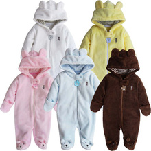 Newborn Baby Rompers Polar Fleece Baby Girls Clothes Pure Color Infant Jumpsuit Thick Roupas Bebe Winter Hooded Baby Boy Romper