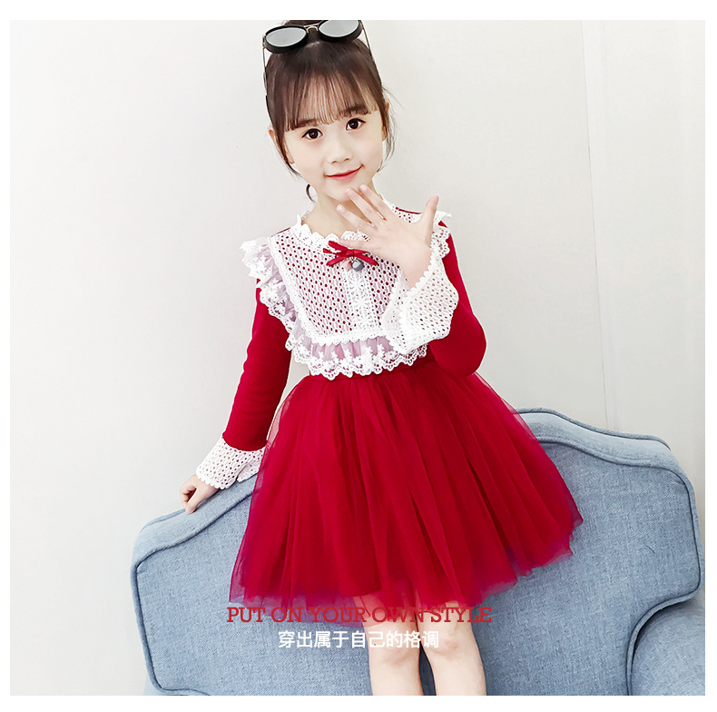 2020 Spring Autumn Teens Kids Cotton Lace Collor Dress for Baby Girls 3-13 years Dress Fashion Cute Long Sleeve Red Mesh Dresses (10)