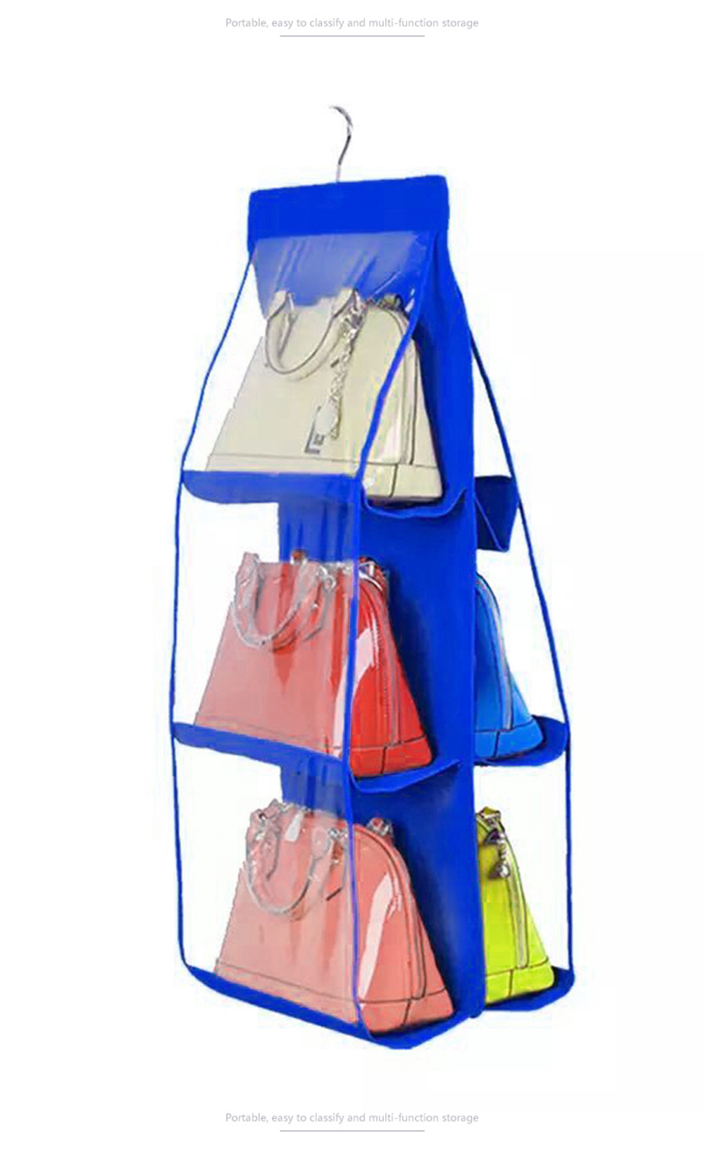 Two Sides Hanging Storage Bag Shoes Handbag Organizer Storage Bag Closet Hanger Handbag Holder Organiser