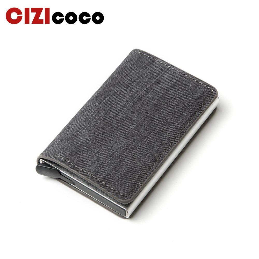 Classic Leather Men Wallet ID Credit Card Holder For Men Aluminium Card Holder Purse Male Rifd Men Bank Card Wallet