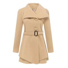 Korean Cape Coat with Belt Winter Women Wool Vintage Cotton Solid Turn-down Collar Single Breasted Slim Office Clothes