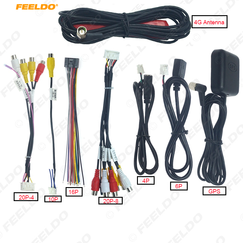 FEELDO Car Head Unit Stereo Wire Harness Kits Compatible For XY AUTO Android Solution Interface (Optional)