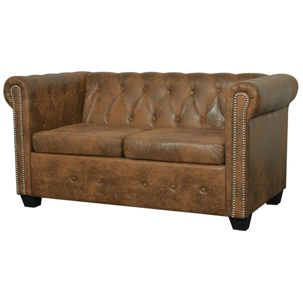 [ES Warehouse]     Chesterfield 2 seater sofa in artificial brown leather Free Shipping Spain Drop Shipping