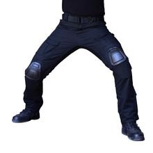 Kamuflaż taktyczne odzież spodnie wojskowe z nakolanniki mężczyźni taktyczne spodnie w stylu cargo żołnierz armii spodnie Paintball odzież tanie tanio ESDY Cargo pants COTTON Elastan Wojskowy Zipper fly Pełnej długości Mieszkanie Midweight RT-9S REGULAR Suknem Kieszenie