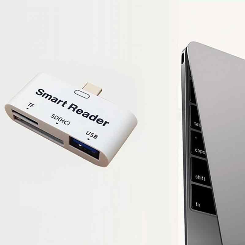 การ์ดหน่วยความจำมัลติฟังก์ชั่น USB 3.1 ประเภท C USB-C TF SD การ์ดอ่าน OTG สำหรับ Mac-book แท็บเล็ตโทรศัพท์การ์ดผู้อ่าน