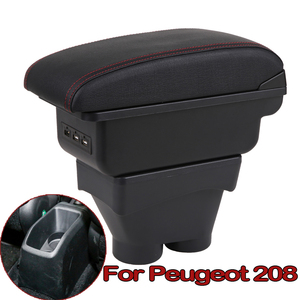 For Peugeot 208 Armrest Box Heighten Double Layer Central Store Content Cup Holder Ashtray Accessories 2012 2013 2014 2015-2018