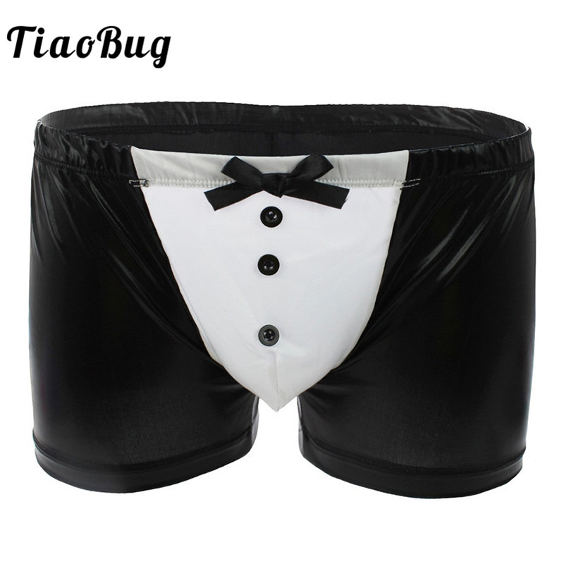 TiaoBug Men <font><b>Sexy</b></font> <font><b>Gay</b></font> Swimwear Patent <font><b>Leather</b></font> Boxer Bikini Briefs <font><b>Underwear</b></font> with Buttons Bowknot Butler Waiter Costume Lingerie image