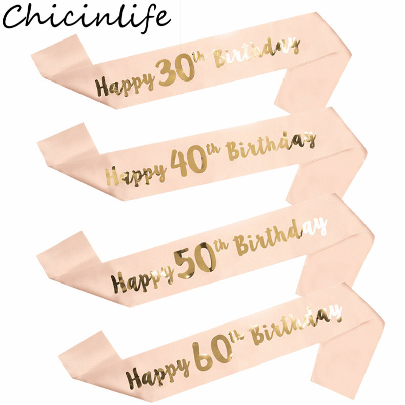 Chicinlife 1Pcs 16 18 21 30 40 50 60 Year Old Satin Sash Happy Birthday Party Anniversary Adult Woman 30th Birthday Supplies