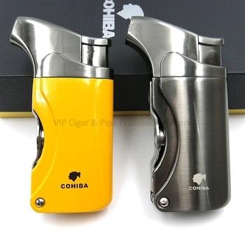 COHIBA Metal Torch Jet Flame Butane Gas Cigarette Cigar Lighter Built-in Cigar Punch Refillable Men's Smoking Tool