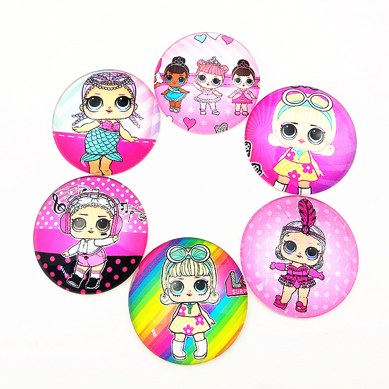 10pcs New Design Cartoons Doll,Unicorn, Flamingos, KT Cats,mouse, Princesses, 20mm Glass Cabochon For Girl DIY  Jewelry