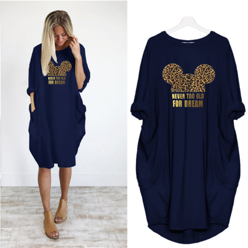 2020 Dress Women Cute Printing Pocket Loose Dresses Vintage Fall Maxi Clothes Party Casual Dresses Woman Plus Size Leopard Dress 3