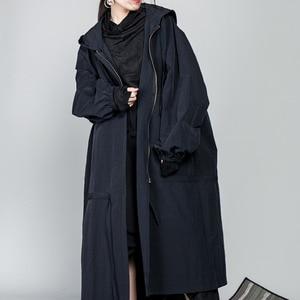 Image 5 - [Eem] 2020 yeni bahar İpli tam kollu kapşonlu yaka gevşek fermuar ince büyük boy uzun ceket kadın ceket moda gelgit OB113
