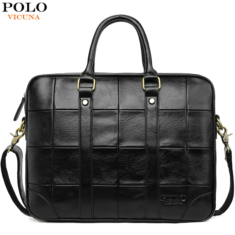 VICUNA POLO Classic Big Plaid Design Black Mens Leather Laptop Briefcase Solid Fashion Men's Leather Handbag Shoulder Bags