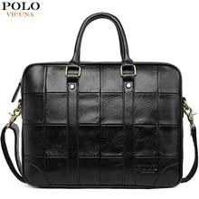 VICUNA POLO Classic Big Plaid Design Black Mens Leather Laptop Briefcase Solid Fashion Mens Leather Handbag Shoulder Bags