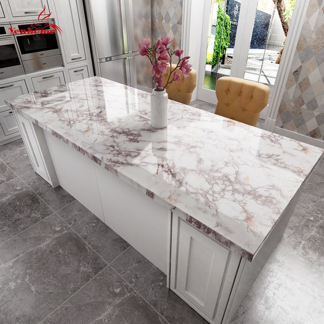 Waterproof Marble Self Adhesive Wallpaper Vinyl Film Wall Stickers Bathroom Kitchen Cupboard Room Decoration Sticky Paper Decal 3