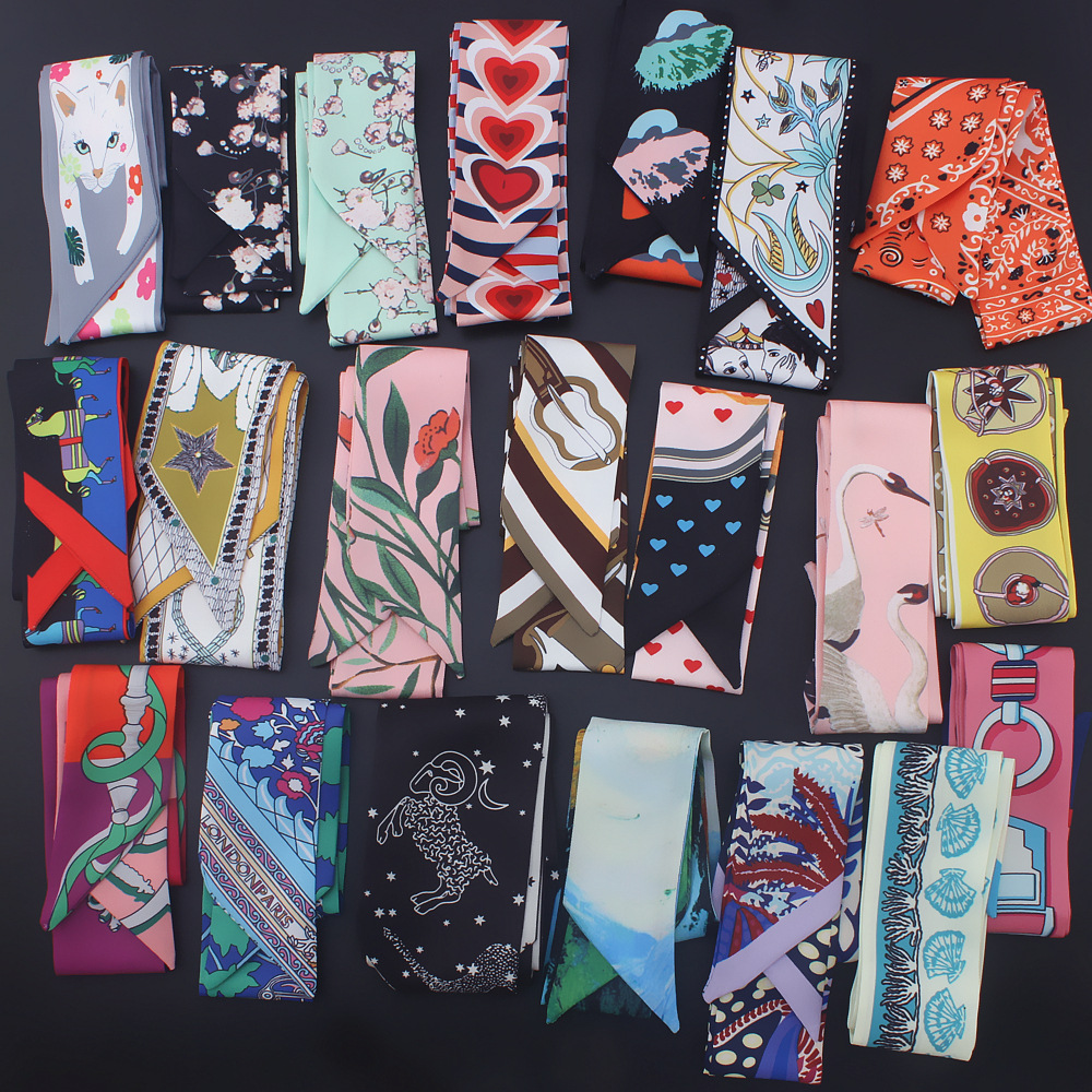 Small long skinny scarves 2020 new silk scarf women fashion Cashew print handle bag ribbons femme neckerchief head scarfs tie