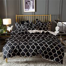 Fashion Adults Bed Linens Set US Twin Home Decorative Grid Printed Lattice Bedding Black Duvet Cover