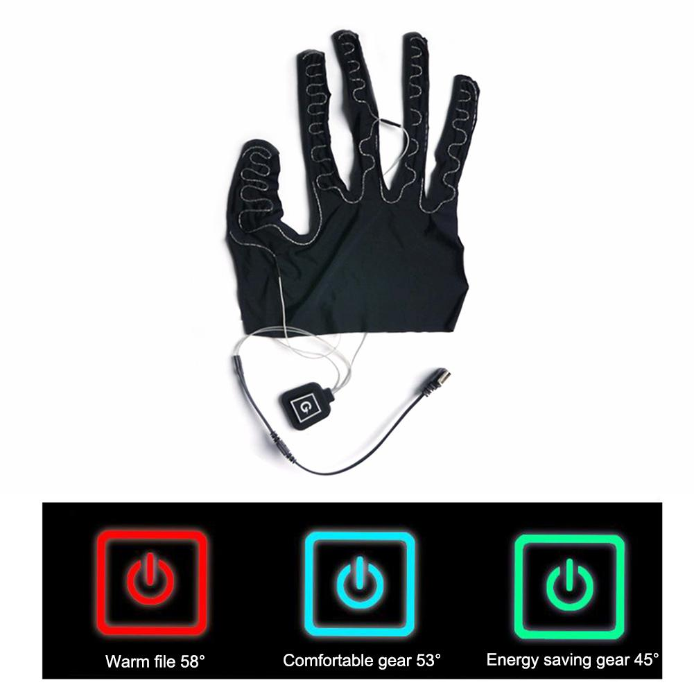 1pc Five-finger Skiing Gloves Heating Pads Lithium Battery Powered Three-gear Temperature Adjusting Heated Pad For Winter Warm