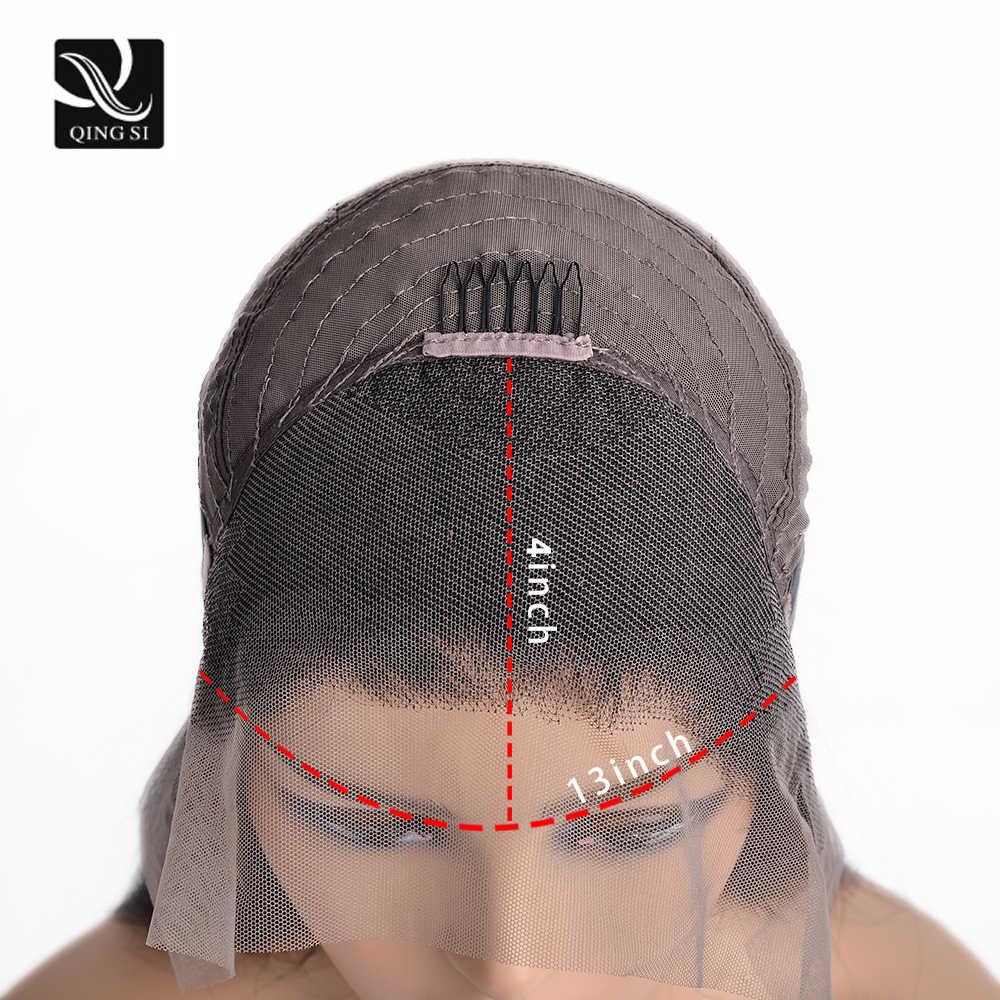 Qing SI peruki z prostymi włosami koronki przodu peruka brazylijski ludzkie włosy typu Remy 13*4 koronki przodu l wstępnie oskubane z dzieckiem włosy 150% gęstości