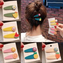 2Pcs Summer Candy Color Scrub Resin Hair Clip Women Girls Cute Colorful Flower Watermelon Fruit BB Hairgrip Snap Barrettes