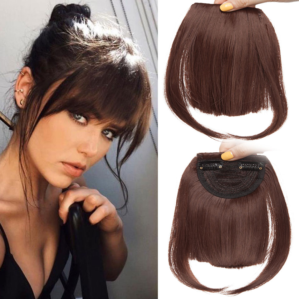 SNOILITE Clip In Bangs Hair Extensions Black Brown Blonde Fake Fringe Hairpiece 18colors Synthetic Blunt Bangs For Women