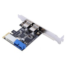 Usb 3.0 Pci-E Expansion Card Adapter External 2 Port Usb3.0 Hub Internal 19Pin Header Pci-E Card 4Pin Ide Power Connector(China)