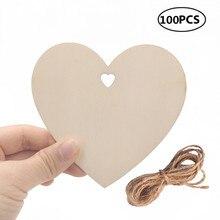 100pcs 100mm עץ לב ריק עץ לב קישוטים עם חוט טבעית לחתונה DIY אמנויות אמנות כרטיס ביצוע