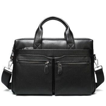 Business Men's Briefcases Men's Bag Genuine Leather Messenger Bags Laptop Bag Leather Briefcase Office Bags for Men