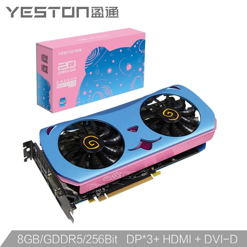 Yeston Radeon RX580 2048SP-8G GDDR5 CUTE PET PCI Express x16 3.0 video gaming graphics card external graphics card for desktop 2
