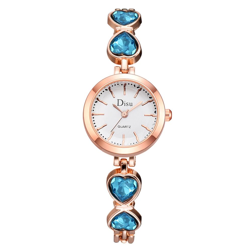 Luxury Rose Blue Bracelet Watches For Women Dress Quartz Clock Ladies Bangle Heart Casual Watch Simple Gift Montre Femme