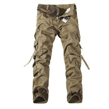 2019 New Men Cargo Pants army green big pockets decoration mens Casual trousers easy wash male autumn army pants plus size 42 - 29, Khaki