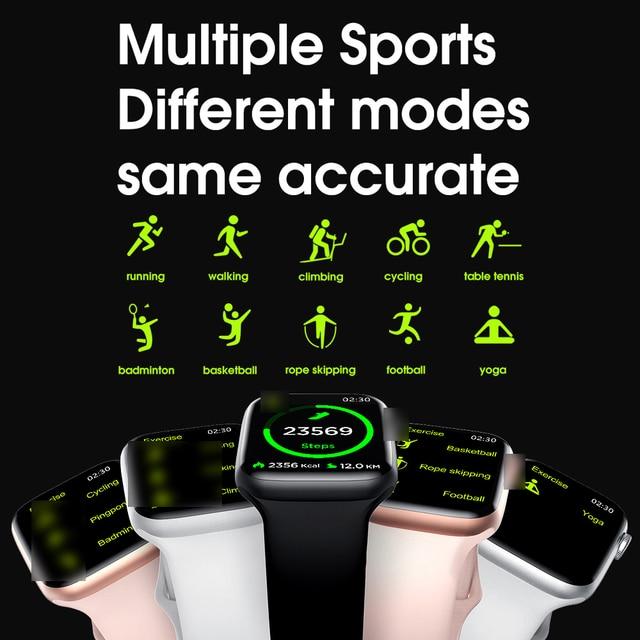 """2020 IWO W26 pełne zegarek Smart Watch z ekranem dotykowym 1.75 """"ekg Monitor tętna PPG Smartwatch serii 6 Bluetooth otrzymać telefon zwrotny od temperatury ciała"""